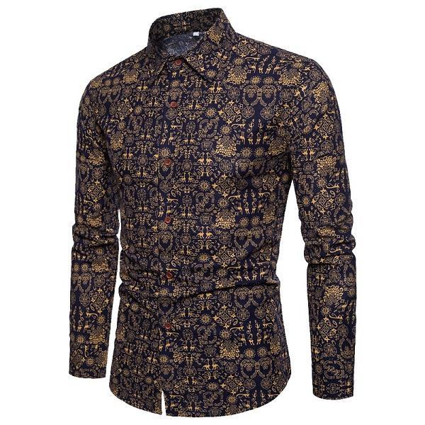 HEFLASHOR 2018 Neue Vintage Print Männer Shirts Klassische Mode Floral Bedruckte Kleidung Männlichen Frühling Retro Style Bluse Große Größe 5XL