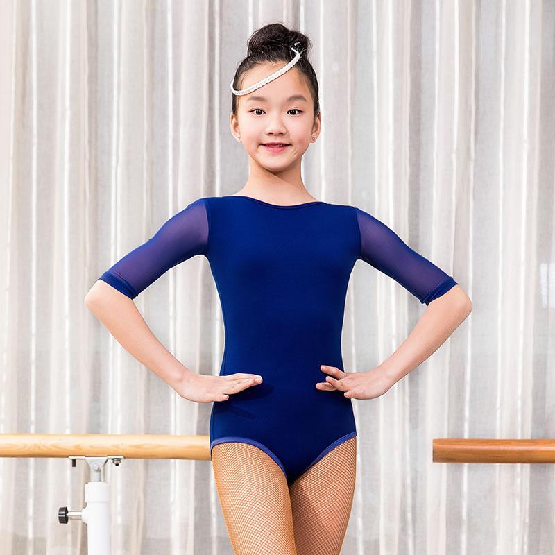 O-cuello gasa media manga ropa de baile latino Top Body para niña / niños / niño, vestuario de salón Performance Wears G1039