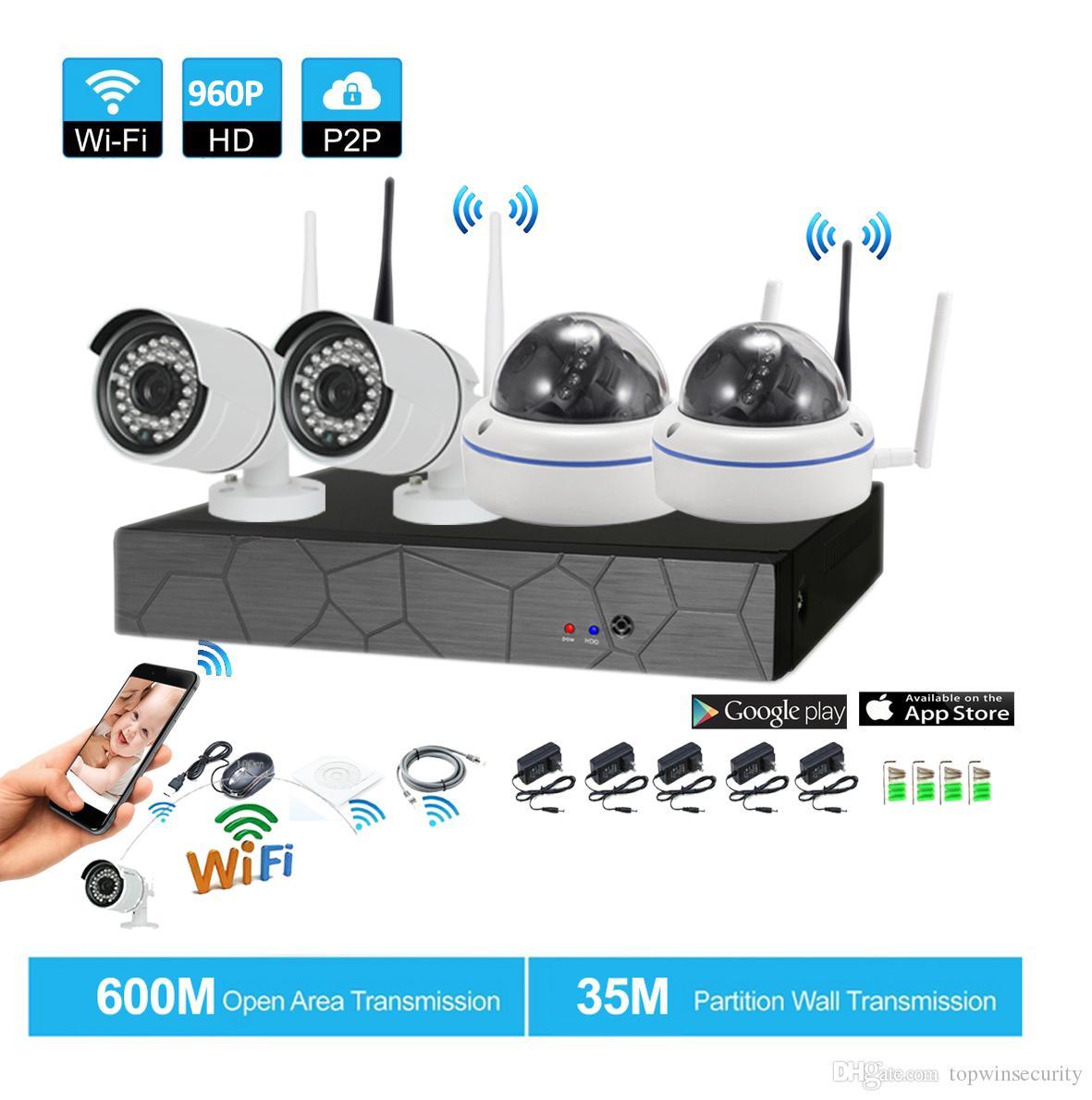 4CH CCTV Wireless 960P NVR 4PCS 1.3MP IR Outdoor P2P Wifi IP CCTV Telecamera di sicurezza Kit di sorveglianza del sistema con 1 TB HDD