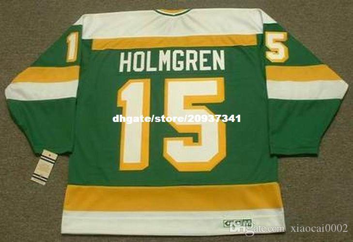 Mens all'ingrosso PAUL HOLMGREN Minnesota North Stars 1984 CCM Vintage Vintage Retro Hockey Jersey