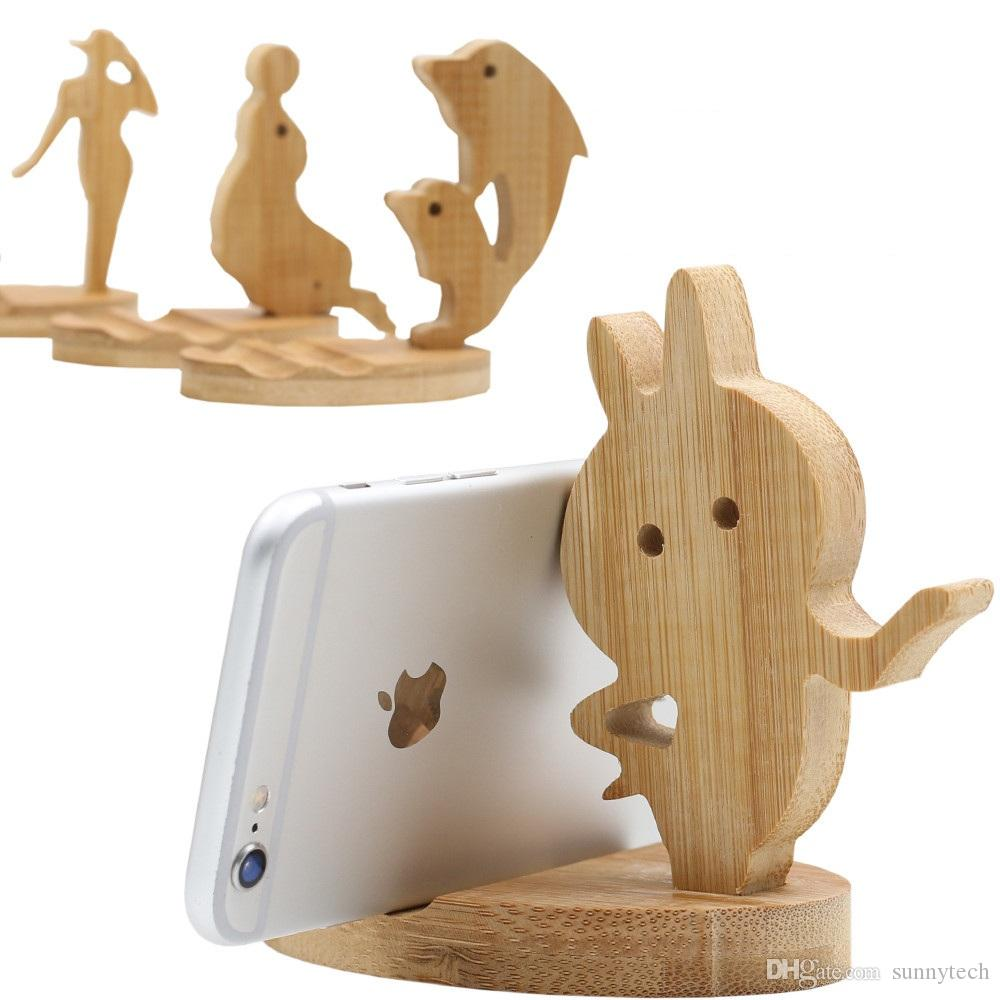 Natural Bamboo Mobile Phone Watch Holder Desk Table Stand For Iphone 7P X Bamboo Cell Phone Desktop Tablet Holder LX1083
