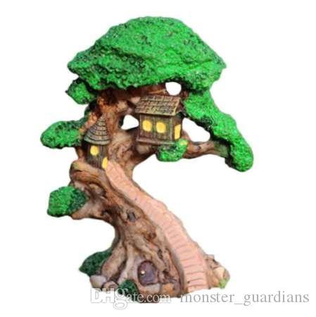 Elf Ağacı Evi Minyatür Peri Bahçe Ev Evler Dekorasyon Mini Zanaat Mikro Peyzaj Dekor DIY Aksesuarları