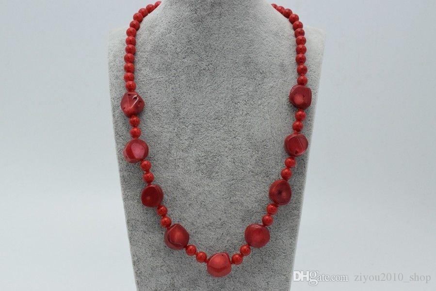 El yapımı güzel doğal 6mm14mm yuvarlak kırmızı mercan taşlar 50cm moda takı kolye
