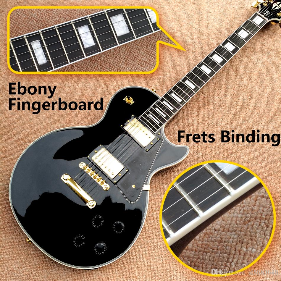الشحن مجانا! الجملة أعلى جودة LP مخصص للتسوق الأسود اللون الكهربائية الغيتار خشب الأبنوس وحة الفريتس الحنق ملزم الذهبي Hardware.180901