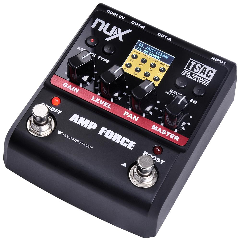 NUX AMP Force Amplifier Simulator Guitar Effects Pedal 12 Guitar Pre-amps Distortion with 3-band EQ True Bypass Free Shipping