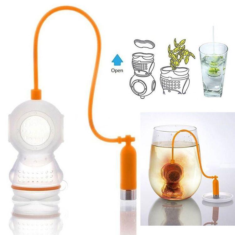 7 colori a forma di diver tea bustine filtro tè infusore in silicone carino diver teabags per il tè caffè caramelle setaccio di bevande 5 pz