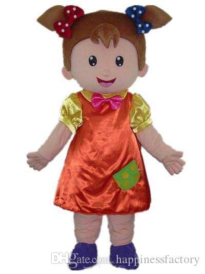 2018 Sconto vendita fabbrica un costume mascotte bambina indossa un abito arancione e cravatta rosa in vendita