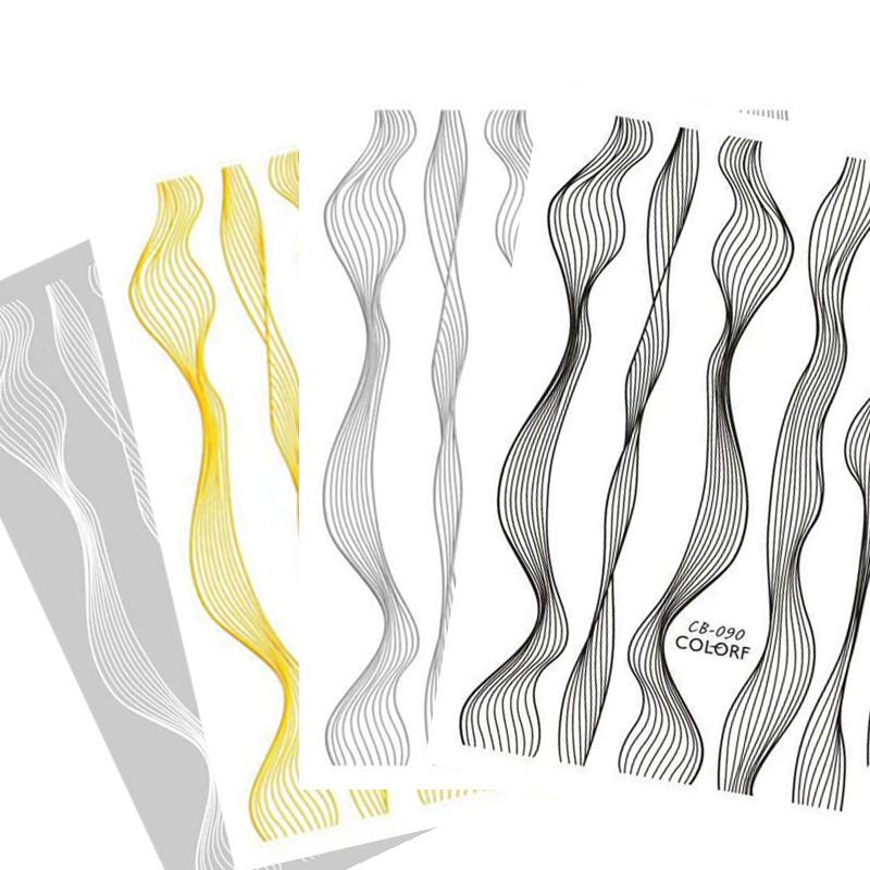 CB-90 черный белый золото серебро 4 цвета a grou Cheetsan новые 3d наклейки для ногтей наклейки для ногтей экспорт качества Золотой стикер