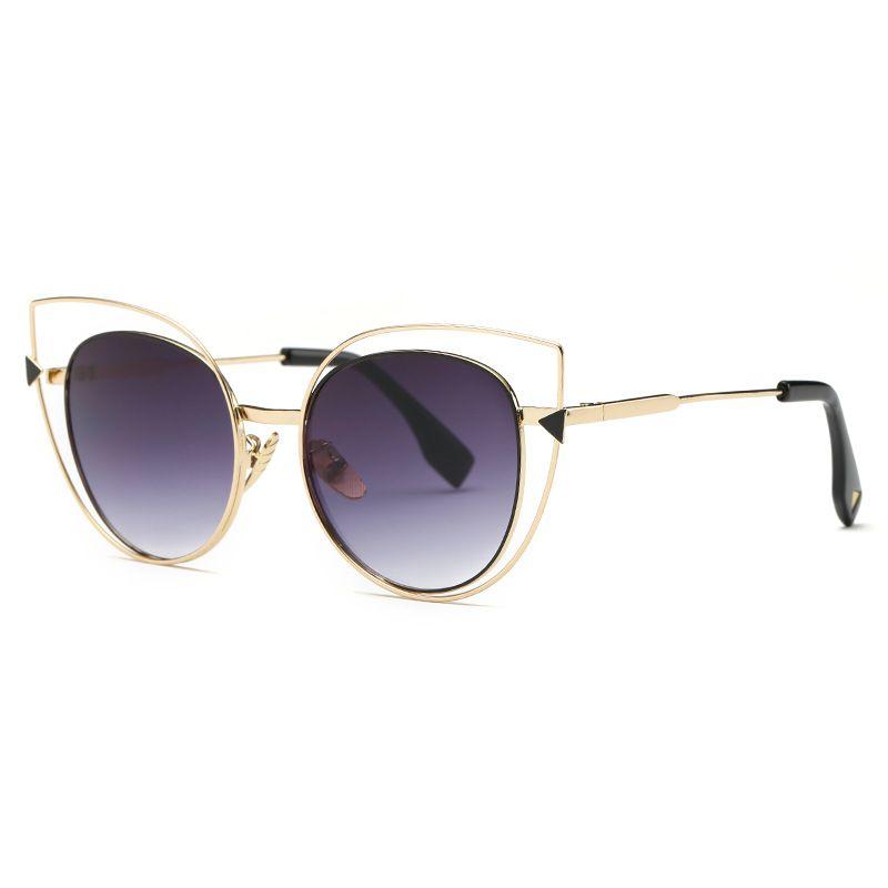 Moda occhiali da sole del progettista di marca superiore di lusso di qualità degli occhiali da sole in metallo occhiali da sole uomini o bicchieri Donne New Retrò Cat-eye