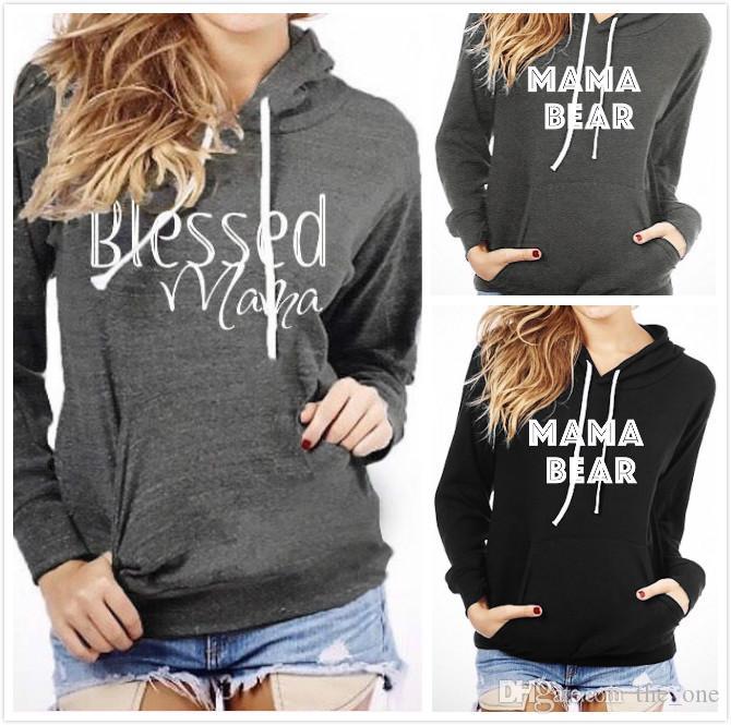 New Mama Bear Letter Felpe con cappuccio stampato con grande tasca Coulisse con cappelli Pullover Patchwork Camicie con cappuccio Top di maternità 3Colori