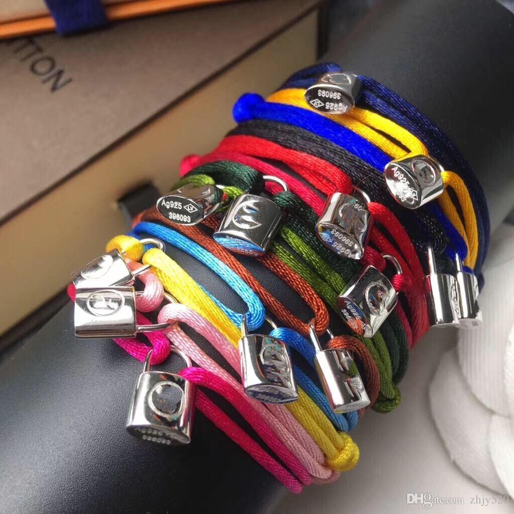 Marca de fábrica Mujeres Cuerda hecha a mano con cierre de plata Pulsera Charm Titanio Accesorio de acero inoxidable muchos colores cuerda joyería envío gratis