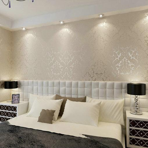 KALEMENG Victorian Damask Silver Scroll Background PVC Roll Wall Papers Home Decor For Living Room Bedroom Wallpaper