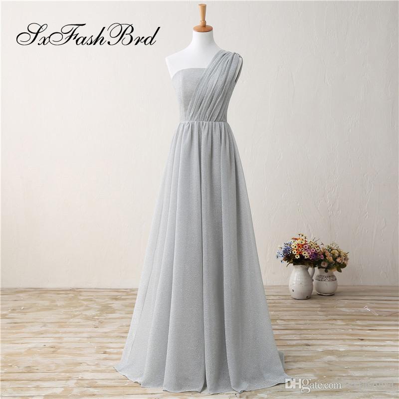 Ocasión de moda elegante un hombro una línea gris gasa larga fiesta vestidos de noche formales para las mujeres vestidos de baile de promoción