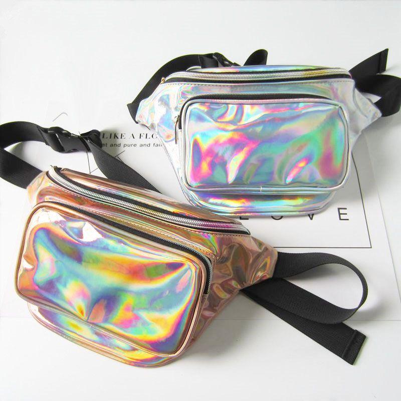 NEW Fashion Sport Style Unisex Laser Translucent Waist Bag Waterproof Rainbow Hologram PU Metallic Silver Fanny Packs Women Waist Bags