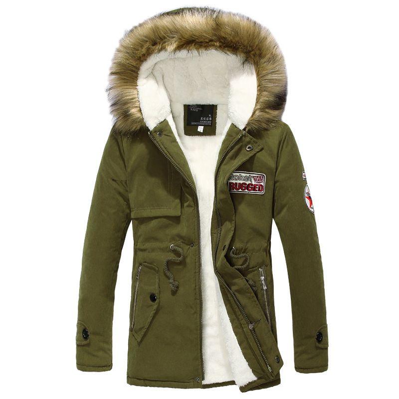 Thickening Parkas Men Winter Jacket Men's Coats Male Outerwear Fur Collar Casual Long Cotton Wadded Men Hooded Coat