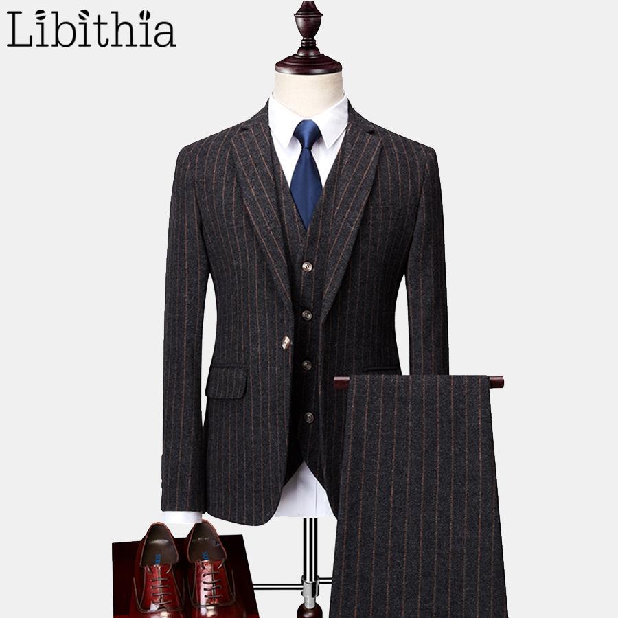 Mens Slim Fit 3 Pieces Suits Stripe Blazer Jackets Woolen Fabric Pant Vest Big Size 6XL Winter Dark Grey Dress Wedding T224
