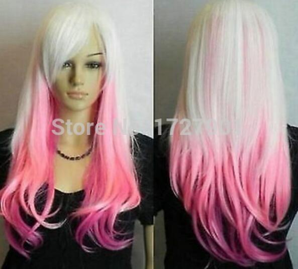 Бесплатная доставка + + + + Nnew мода женщин белый смешанный розовый длинные косплей парик партии