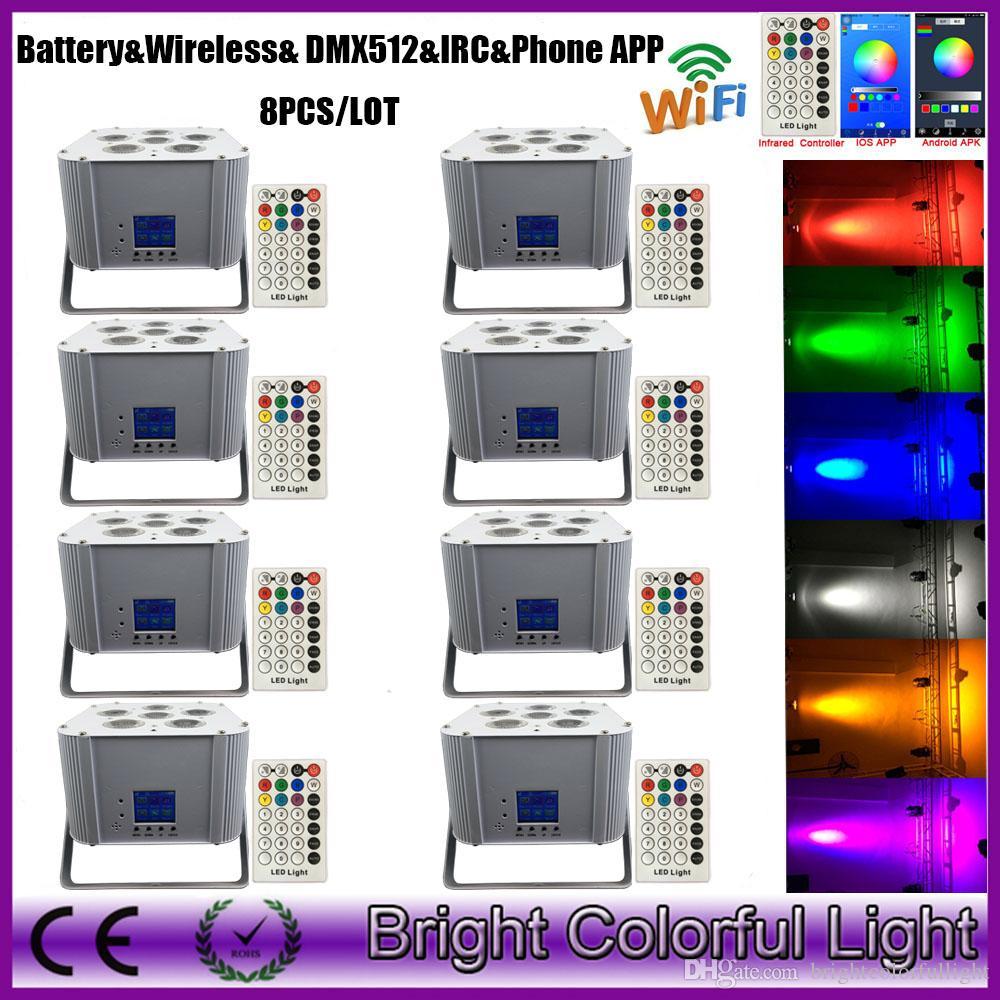 8XLOT RGBWA UV LED Wireless DMX Smart Par Light Battery Operated WiFi Infrared control Stage Uplighting Party Event DJ Lighting
