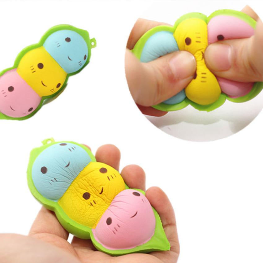 hOT 15cm Jumbo Peas Squishy Decompression Toy Phone Straps Charm Pendant Squishies Simulation Food Keychain Kid Toys GGA103 50PCS