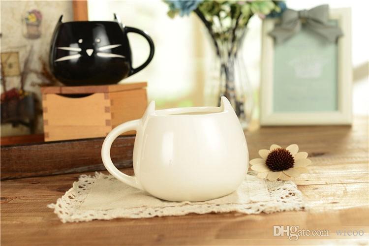 400ml Lovely ceramic black and white Cute cat design coffee mug kawaii Cat lovers Couple mugs breakfast milk mug Tea mug