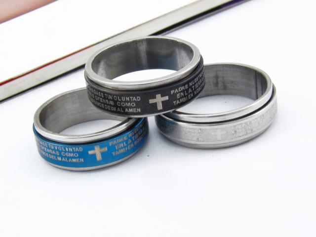 Moda, rotação, cruz, titânio, aço, anel, dominador, anéis duplos masculinos por grosso.