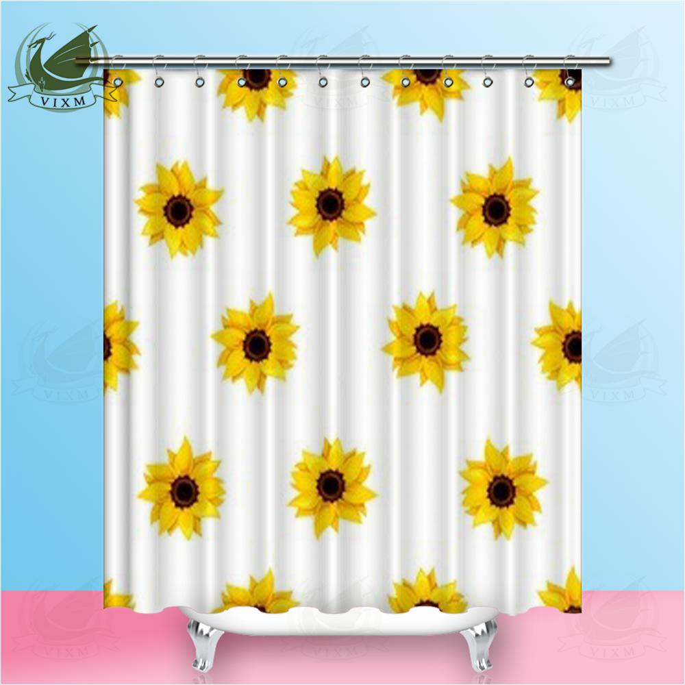 Yellow Shower Curtain Sunflower Pattern Nature Print for Bathroom