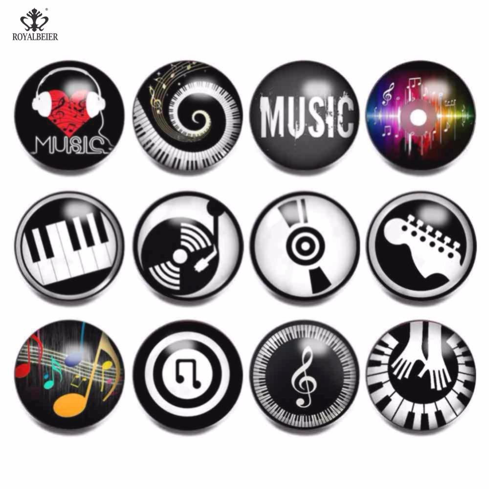 12pcs/lot Mix Musical Note Pattern Glass Clip Charm 18mm Snap Button DIY Lampwork Charm Bead For Bracelets Jewelry KG0021b