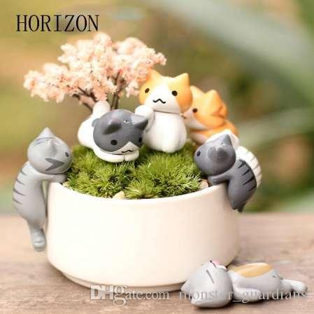 Moda 1 Unidades / 6 unids Gato de Dibujos Animados Micro Paisaje Jardín Decoraciones Miniatura Artesanía Decoración Para El Hogar Color Al Azar