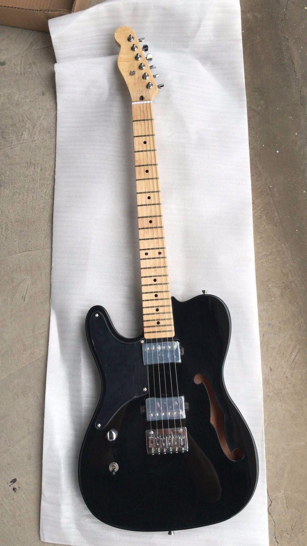 Frete grátis ! Atacado New Tel Guitarra Elétrica Humbucker Pickups Mogno Maple Neck Esquerda Entregue Em Preto 180620