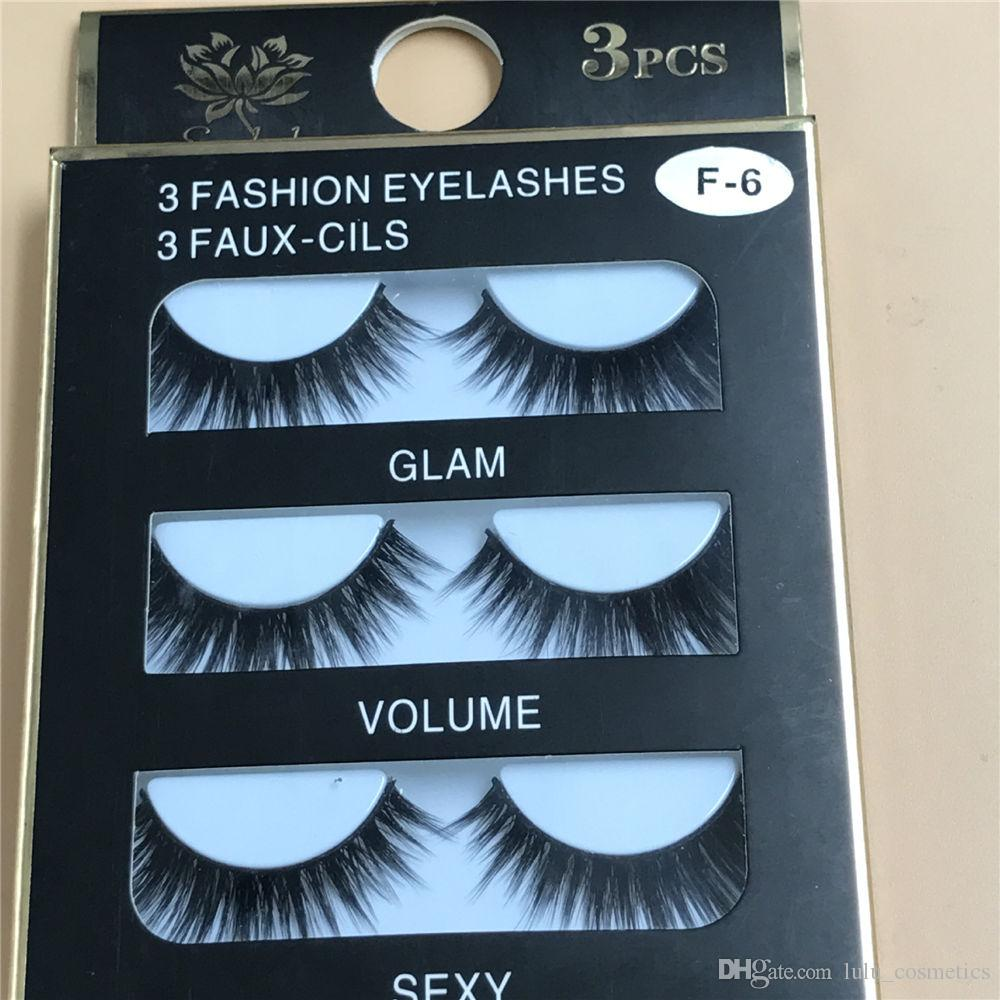 3D Mink Eyelashes Strips Thick Cross 3 Pairs of Natural False Eyelash 3D Eyelash Extensions Eyelash Perm Kit Wimper Extensions F6
