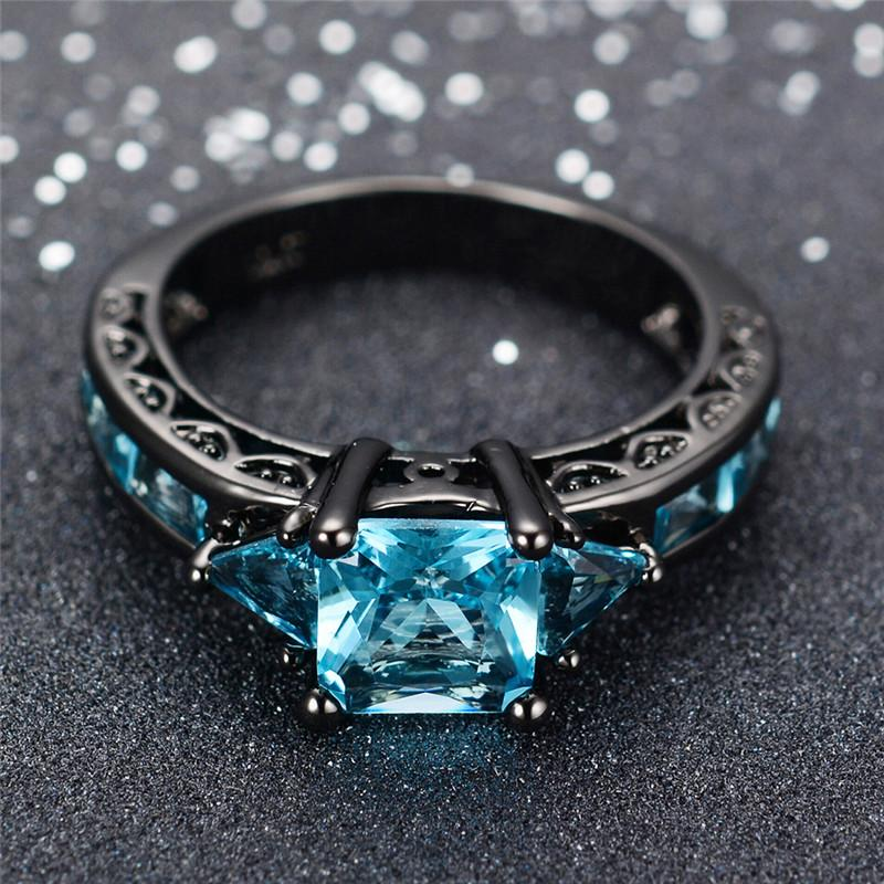 Size 6 10 Classical Jewelry Princess Cut Light Blue Wedding Ring Black Gold Filled Women Vintage Engagement Rings Matching Wedding Bands Mens Wedding Band From Rocketer 9 55 Dhgate Com
