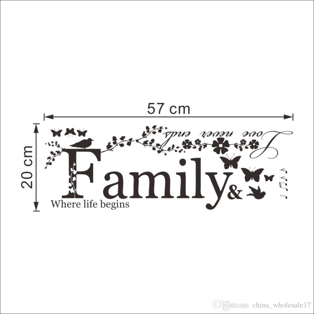 Family Love Never Ends Quote Vinyl Wall Decal Wall Lettering Art Words Wall Sticker Home Decor Wedding Decoration Wall Art Decor Stickers Wall Art