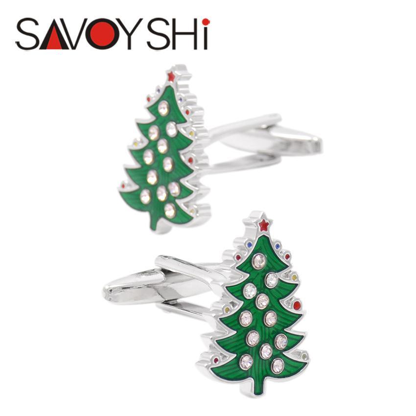 SAVOYSHI Cufflinks for Mens Christmas Tree High Quality Enamel Cuff Bottons Crystal Cufflinks Party Gift Brand Jewelry