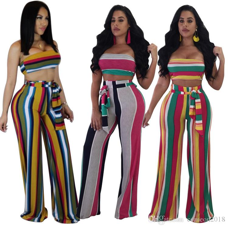 Print Jumpsuit Sexy Strapless Club Wear Summer Full Length Summer Casual Two Piece Set Strapless Top And Loose Wide Leg Pants