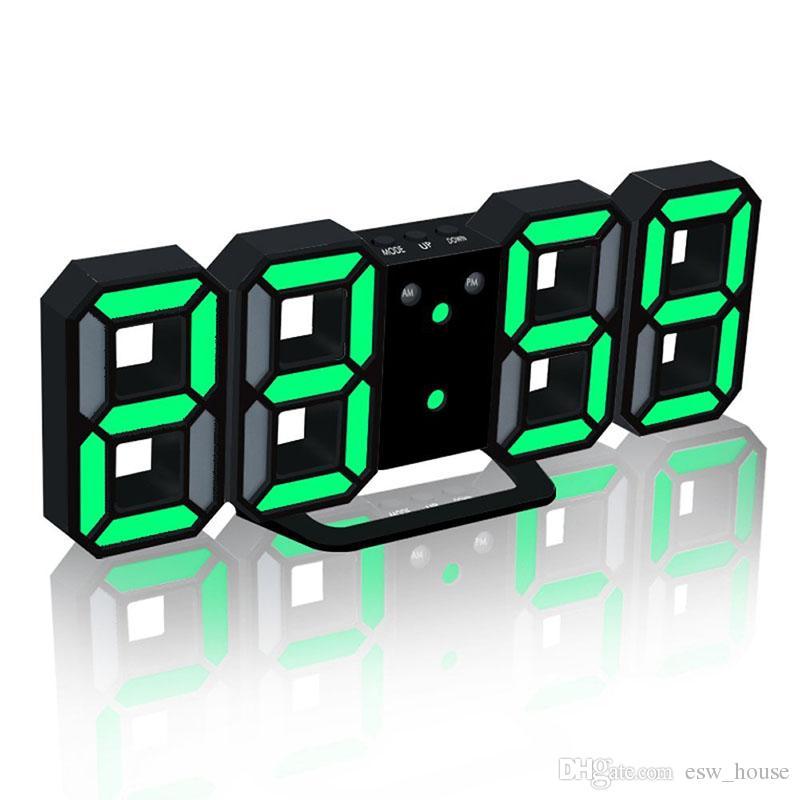 ساعات الحائط الرقمية الحديثة LED الجدول ساعة ملونة الساعات 24 أو 12 ساعة منبه غفوة المنبه غرفة ديكور المنزل