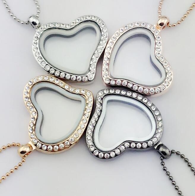 Cam Yüzer Charm Kolye Kolye Locket Charm Gümüş Kalp Elmas Kolye Alaşım Rhinestone Takı Sevgililer Hediye için