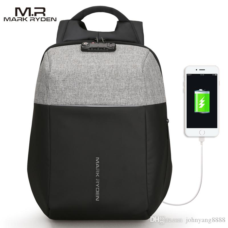 Markryden Nuevo Diseño antirrobo USB Recarga Mochila para portátil TSA Customs Lock Design Mochila Hombres Moda Mochila de viaje