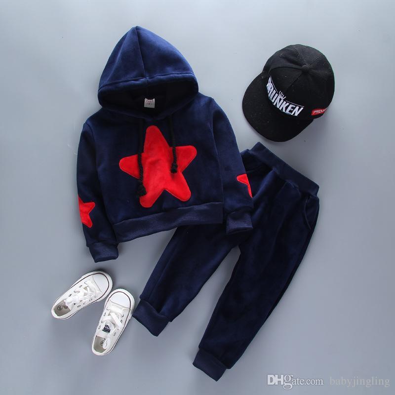 Nouveau bébé garçons filles automne hiver vêtements enfants pentagramme épaississent hoodies + pantalons 2pcs costumes enfants plus survêtement de velours