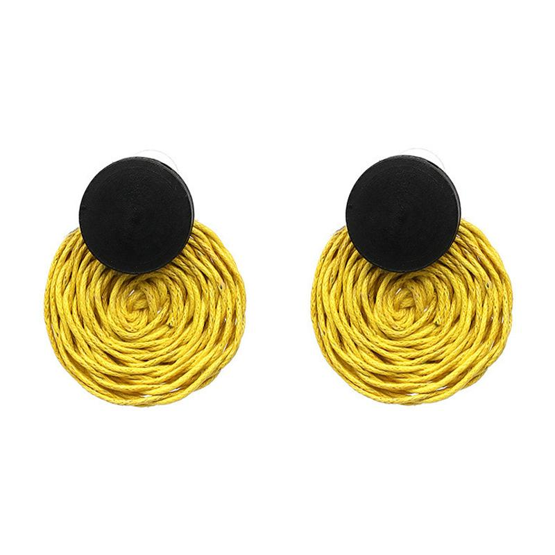 Handmade Rope Weave Round Drop Earrings for Women Bohemian Dangle Earrings Party Costume Jewelry valentines day gift Bijoux
