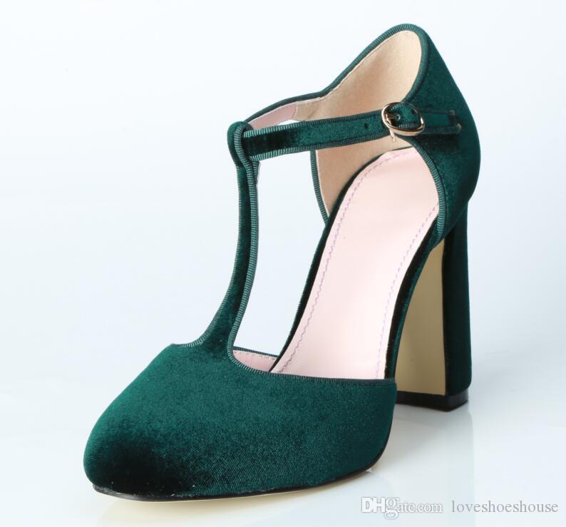 2018 moda verano mujeres bombas de gamuza verde sexy tacones altos zapatos de la boda del dedo del pie bombas del partido zapatos de tacón grueso bombas