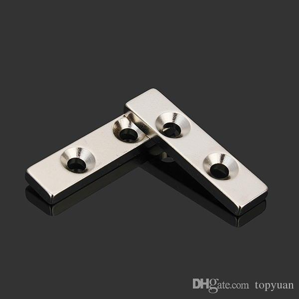 2pcs N35 40x10x4mm Strong Block Magnets Countersunk Rare Earth Neodymium Magnets with 2 Holes