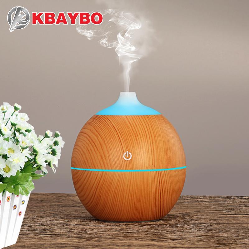 KBAYBO 130ml аромат эфирного масла диффузор USB ультразвуковой деревянный увлажнитель воздуха с древесным зерном 7 цветов изменение светодиодные фонари для дома