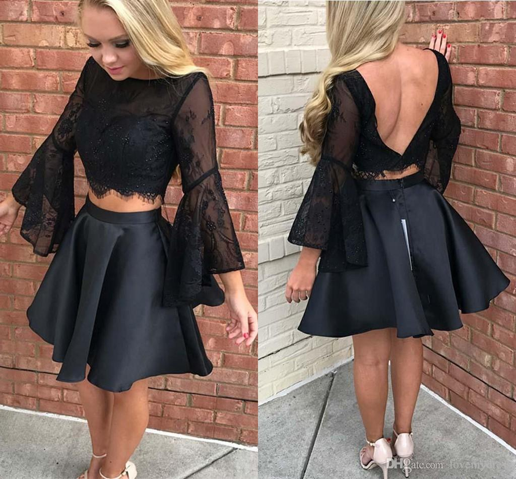 2019 Sexy Black Juliet Long Sleeves Homecoming Prom Dress Short Jewel Neck Sequin Beaded Two Pieces Satin Party graduation Cocktail Dress