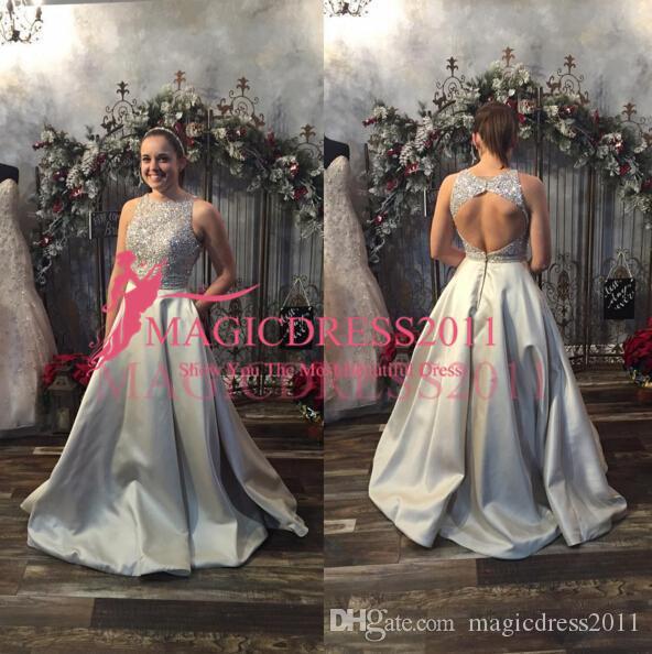 2019 Moda Plata Vestidos de fiesta largos Sin espalda Joya sin mangas Con cuentas de encaje satinado Una línea de vestidos de fiesta por encargo
