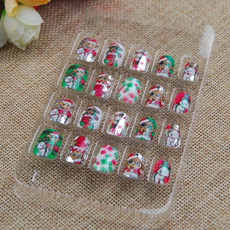 For Kids Children Christmas Colorful 3d Fashion Cute Style Plastic Art Short Fake False Sticker Nail Tips Acrylic Nail Set Fake Nails Designs From