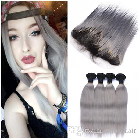 Silver Gray Ombre Brazilian Human Hair Weaves with Lace Frontal Straight 1B/Grey Ombre 13x4 Full Lace Frontal Closure with 4 Bundles Deals