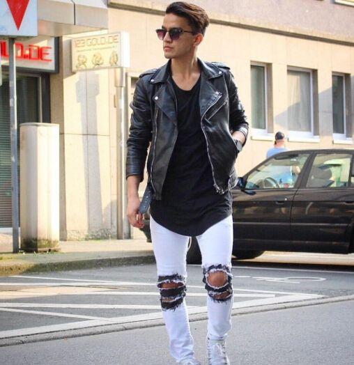 Hombres GD Street Destroyed Jeans Negro Blanco Agujeros Biker Jean Pantalones largos elásticos BIG SAM