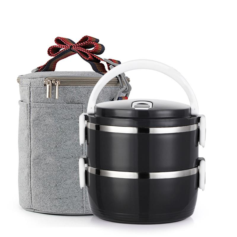 New Black Bento Box Japanese Style Thermal Thermos Stainless Steel Lunch Boxs Portable Adult Kid Student Food Container Plastic freeshipp