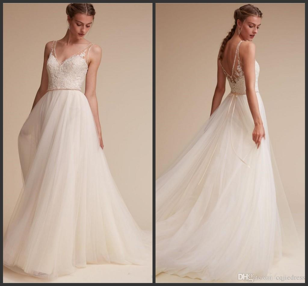 2019 abito da sposa Tulle New BHLDN Beach Abiti da sposa perline Backless Appliqued merletto Scollo a V lungo di cristallo Abiti da sposa sexy 2019