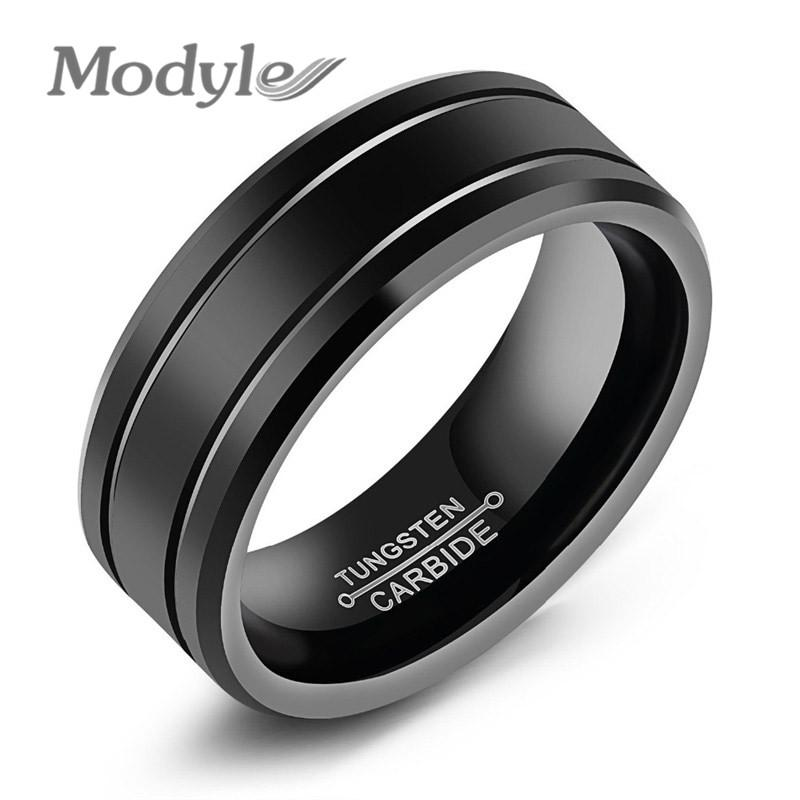 Fashion Black Tungsten Ring For Men Tungsten Wedding Ring Jewelry Fashion Men's Big Ring